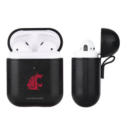 Washington State Cougars Primary Mark design Black Apple Air Pod Leather Case