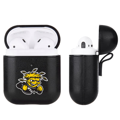 Wichita State Shockers Primary Mark design Black Apple Air Pod Leather Case
