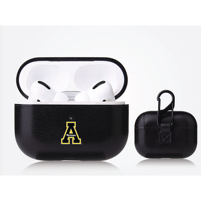 Appalachian State Mountaineers Primary Mark design Black Apple Air Pod Pro Leatherette