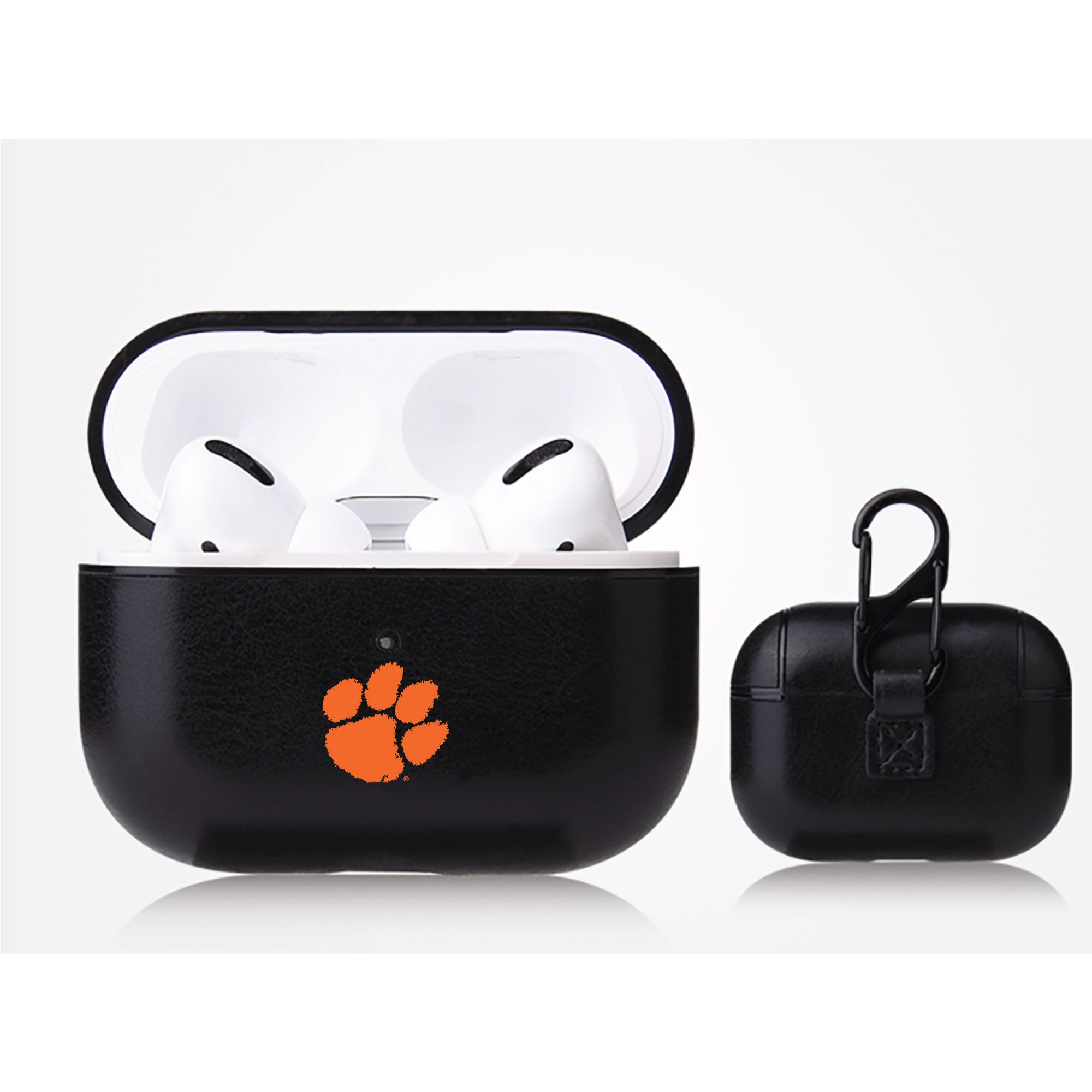Clemson Tigers Primary Mark design Black Apple Air Pod Pro Leatherette