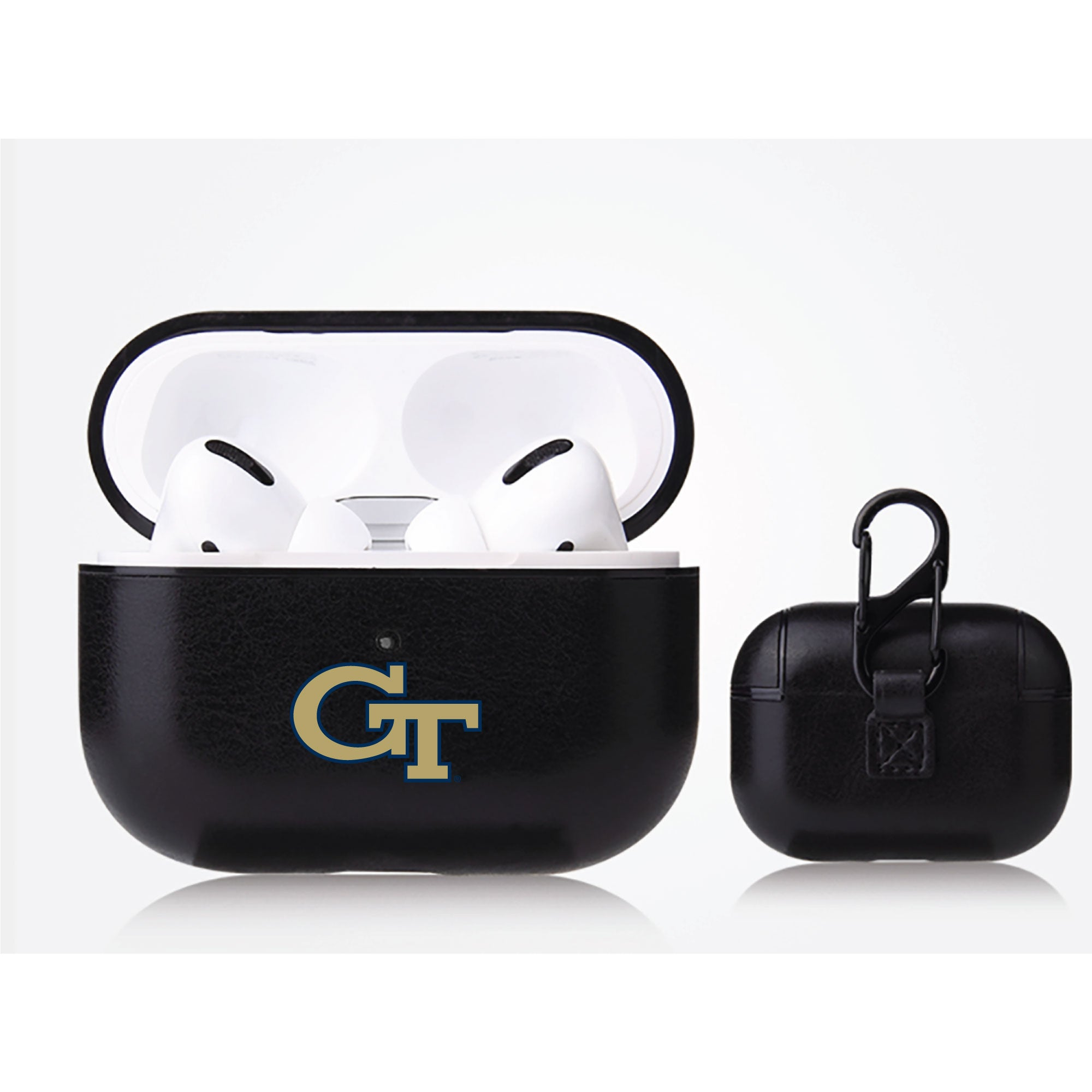 Georgia Tech Yellow Jackets Primary Mark design Black Apple Air Pod Pro Leatherette
