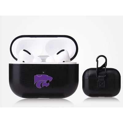 Kansas State Wildcats Primary Mark design Black Apple Air Pod Pro Leatherette
