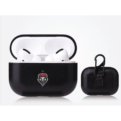 New Mexico Lobos Primary Mark design Black Apple Air Pod Pro Leatherette