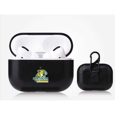 Northern Michigan University Wildcats Primary Mark design Black Apple Air Pod Pro Leatherette