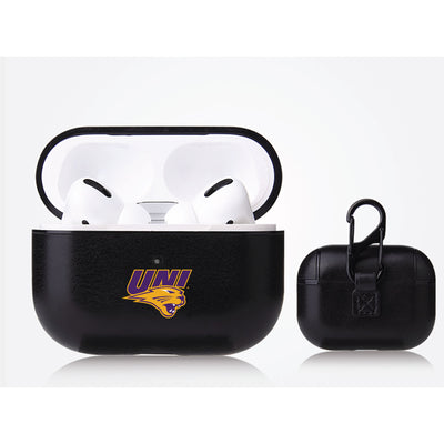 Northern Iowa Panthers Primary Mark design Black Apple Air Pod Pro Leatherette
