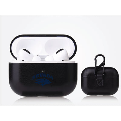 Nevada Wolf Pack Primary Mark design Black Apple Air Pod Pro Leatherette