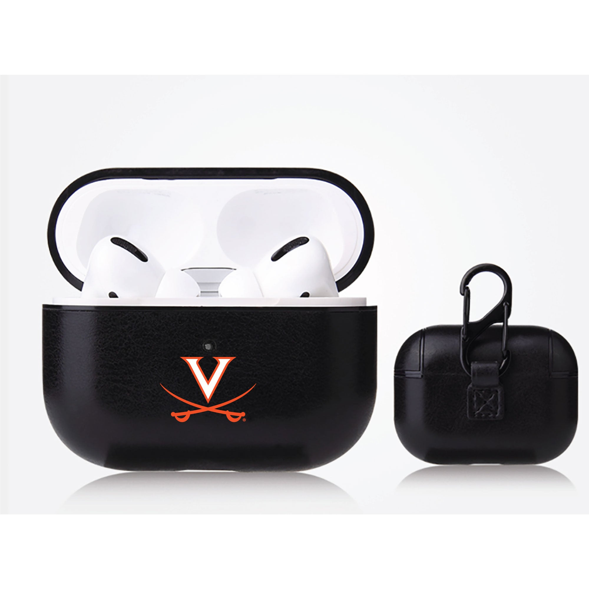 Virginia Cavaliers Primary Mark design Black Apple Air Pod Pro Leatherette