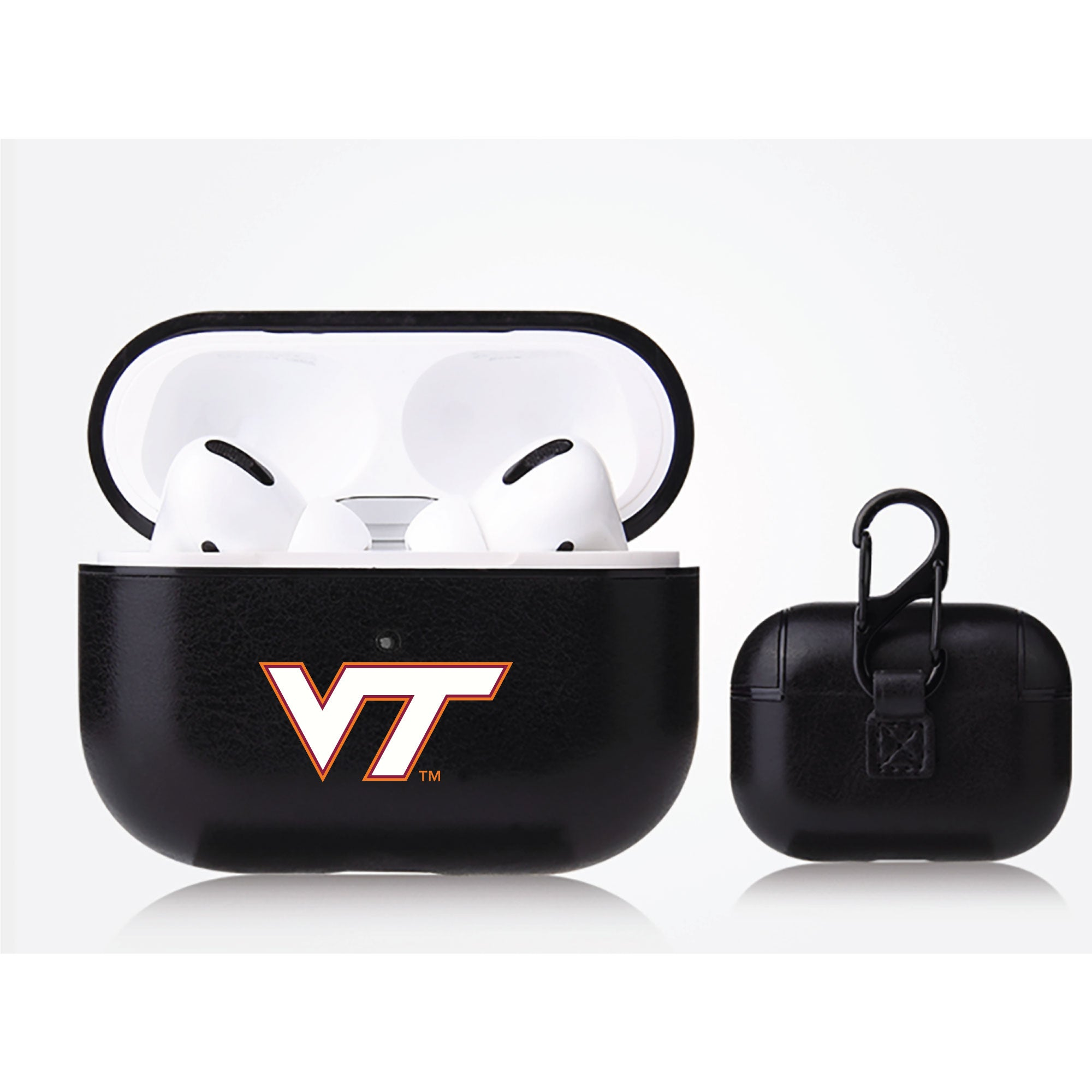 Virginia Tech Hokies Primary Mark design Black Apple Air Pod Pro Leatherette