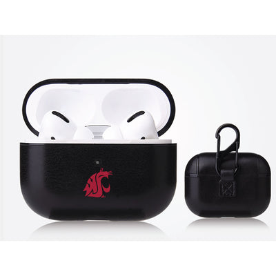 Washington State Cougars Primary Mark design Black Apple Air Pod Pro Leatherette