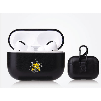Wichita State Shockers Primary Mark design Black Apple Air Pod Pro Leatherette