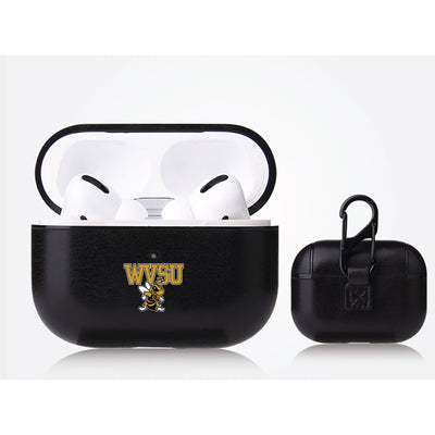 West Virginia State Univ Yellow Jackets Primary Mark design Black Apple Air Pod Pro Leatherette