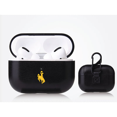 Wyoming Cowboys Primary Mark design Black Apple Air Pod Pro Leatherette