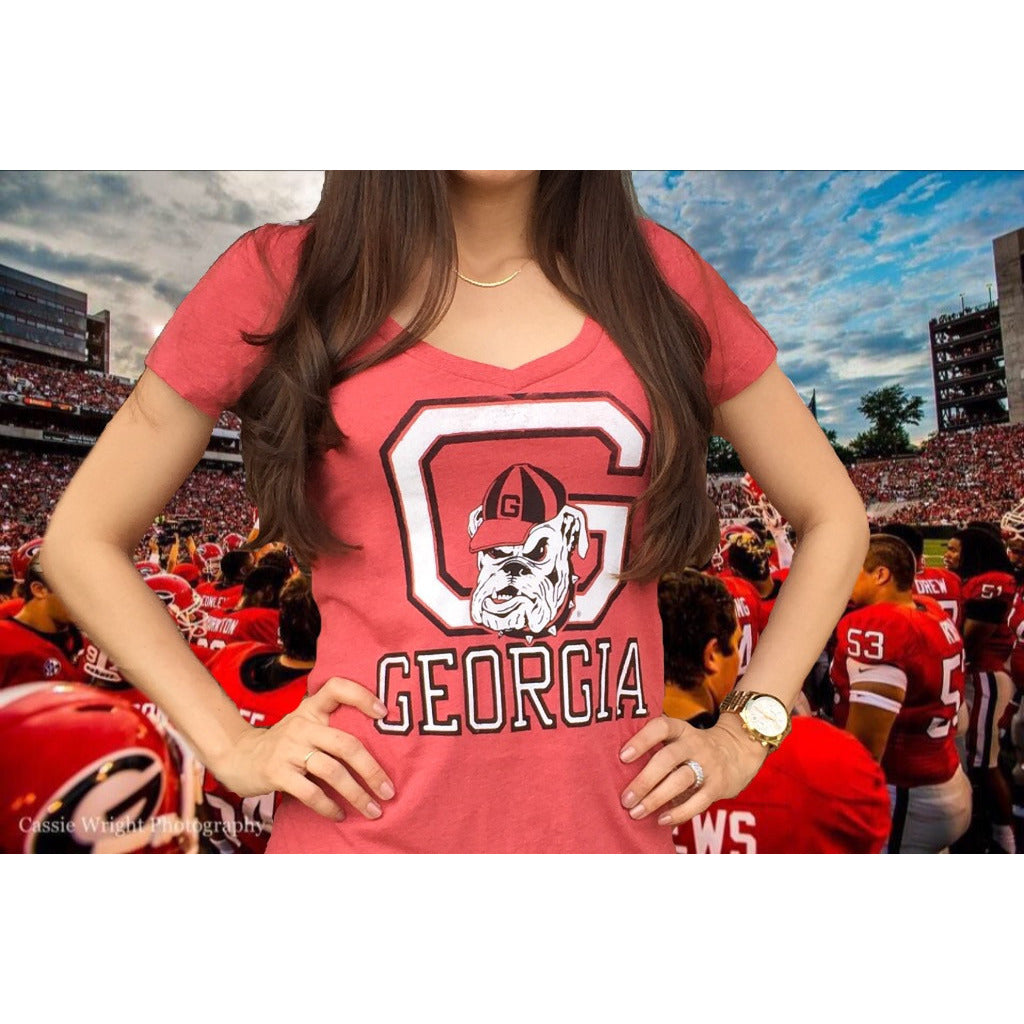 "UGA ""Ladies Vintage Georgia V-Neck"""