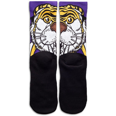 "LSU ""Mike the Tiger"" socks"