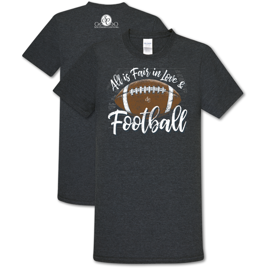 "Southern Couture ""Love and Football"" Ladies T - Navy"