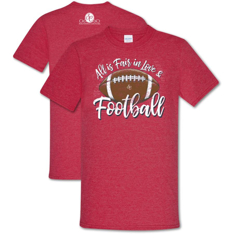 "Southern Couture ""Love and Football"" Ladies T - Heathered Red"