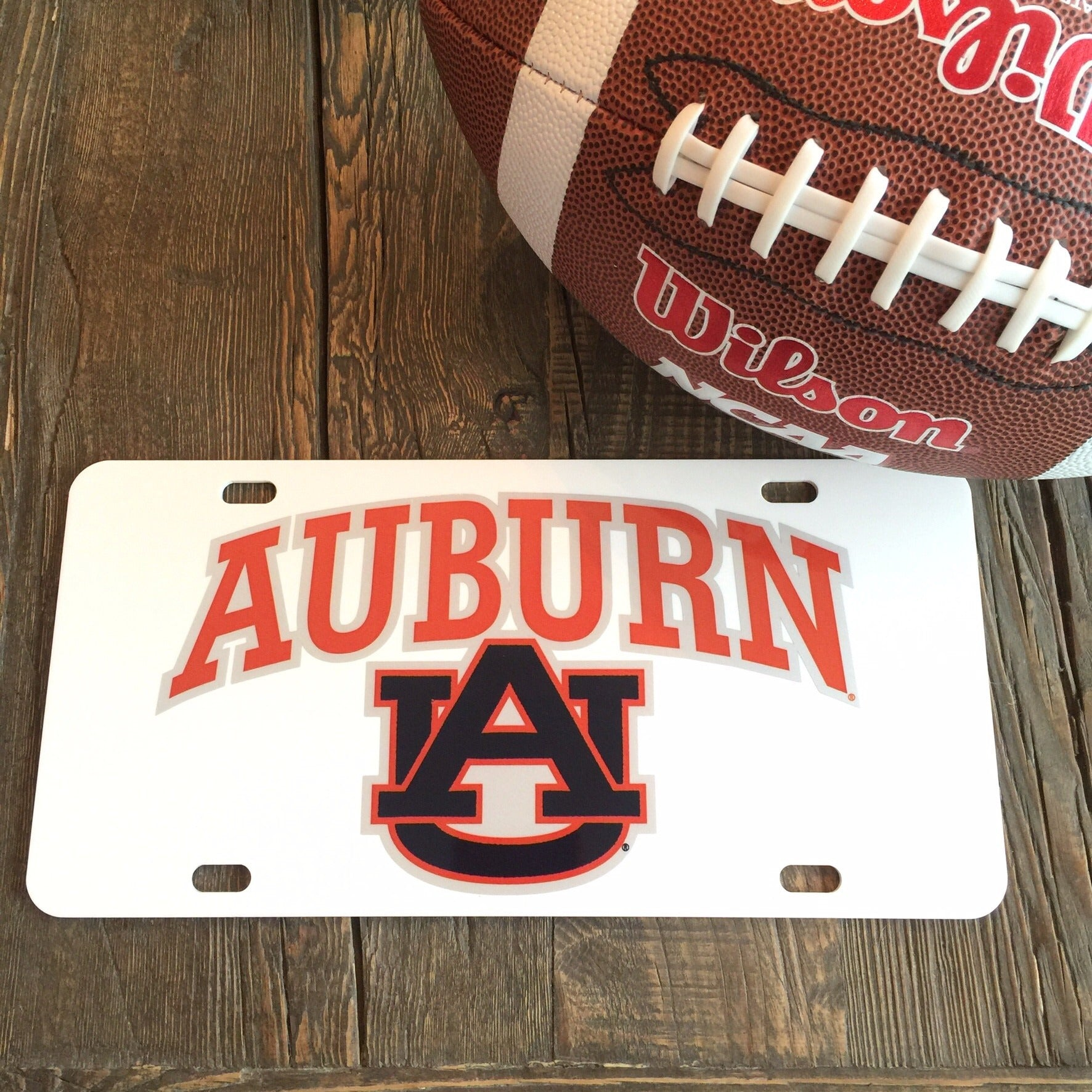 "Auburn ""White AU"" License Plate"