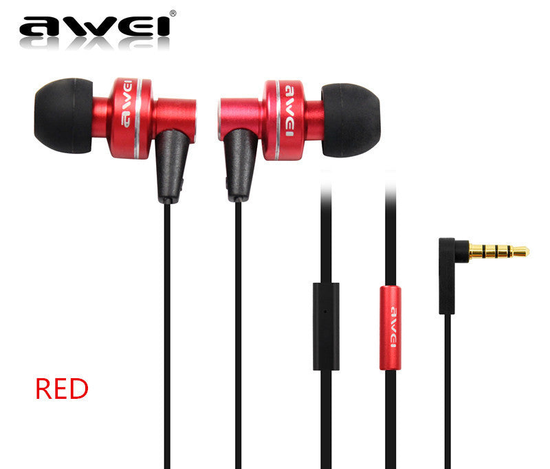 Awei ES900i Red Earphones with Mic