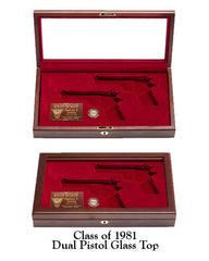 West Point Class of 1981 Dual Pistol Display Case - Glass Top