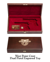 West Point Class of 1981 Dual Pistol Display Case - West Point Crest Engraved Top
