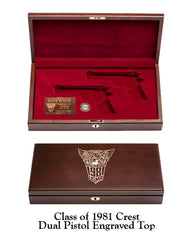 West Point Class of 1981 Dual Pistol Display Case - Solid Top
