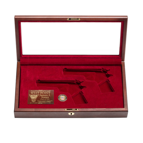 West Point Class of 1981 Class Dual Pistol Display Case - Glass Top