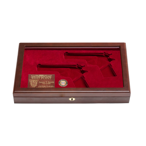 West Point Class of 1982 Class Dual Pistol Display Case - Glass Top
