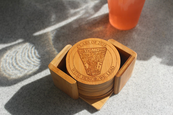 West Point Class Crest Bamboo Coaster Sets