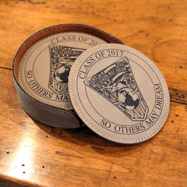 West Point Class Crest Round Leatherette Coaster Set in Brown