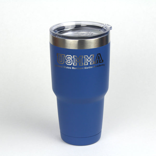 30 oz. Insulated Tumbler decorated with the Merchant Marine Academy initials