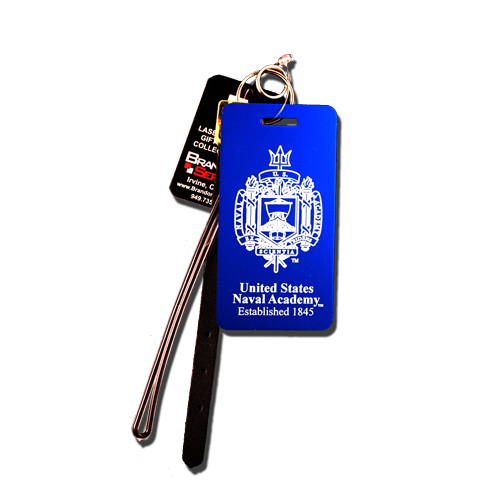 Blue Naval Academy Crest Large Anodized Aluminum Luggage Tag