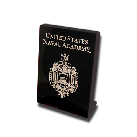 USNA Academy Crest 5x7 Plaque Stand-up - Black Lacquer