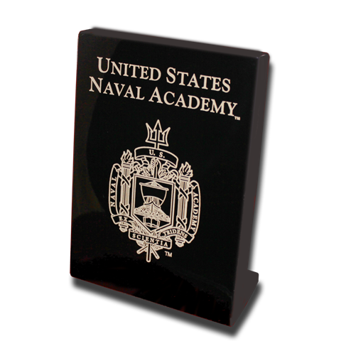 USNA Academy Crest 7x9 PlaqueStand-up - Black Lacquer