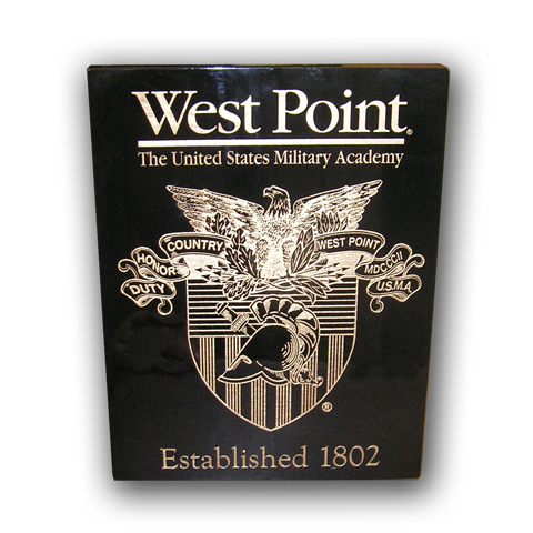 7x9 West Point Black Piano Finish Plaque With Crest and Established Date