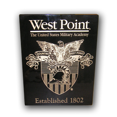 "7""x9"" West Point Black Piano Finish Plaque With Crest and Established Date"