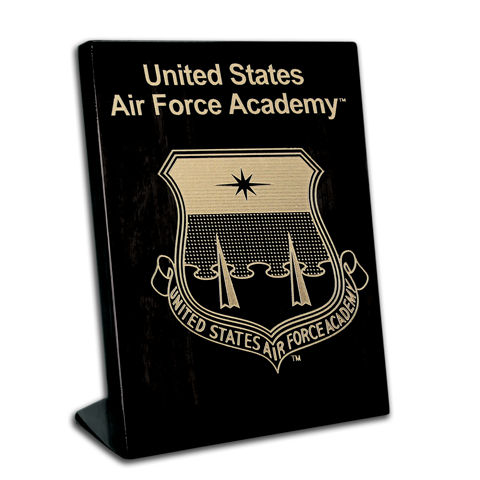 7x9 Air Force Academy Black Piano Finish Free-Standing Award Plaque