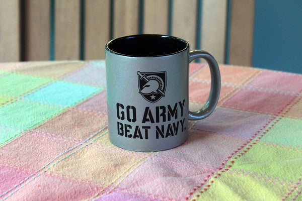 Go Army!  Beat Navy! coffee mug in silver and black