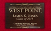 West Point Class Pistol Custom Display Case with engraved top includes a custom engraved placard with Cadets name and graduating year