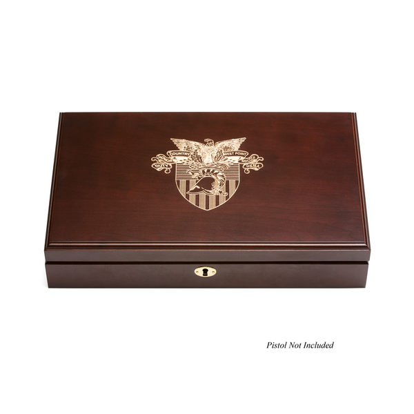 West Point Quad Pistol Display Case - Engraved Top