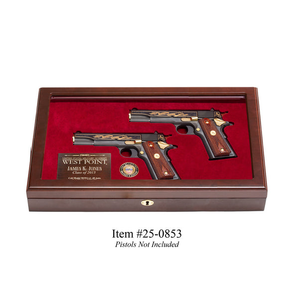 West Point Dual Pistol Display Case - Glass Top