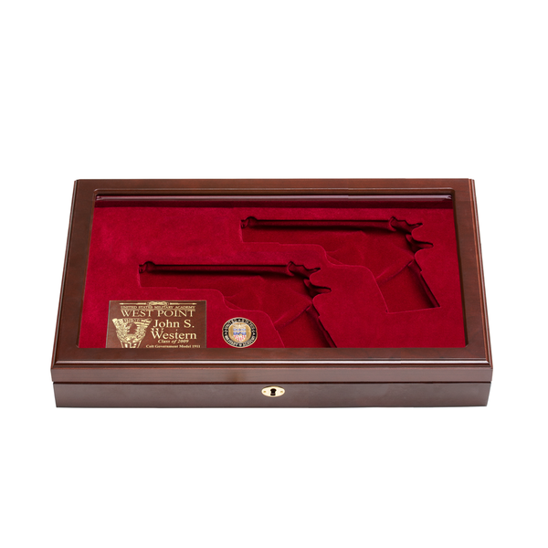 West Point Class of 2009 Dual Pistol Glass Top Display Case
