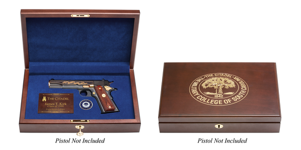 The Citadel Pistol Display Case - Engraved Top