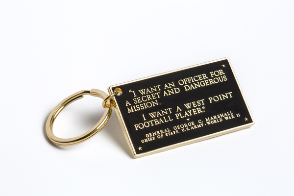 General Marshall Plaque Brass-Plated Key Chain