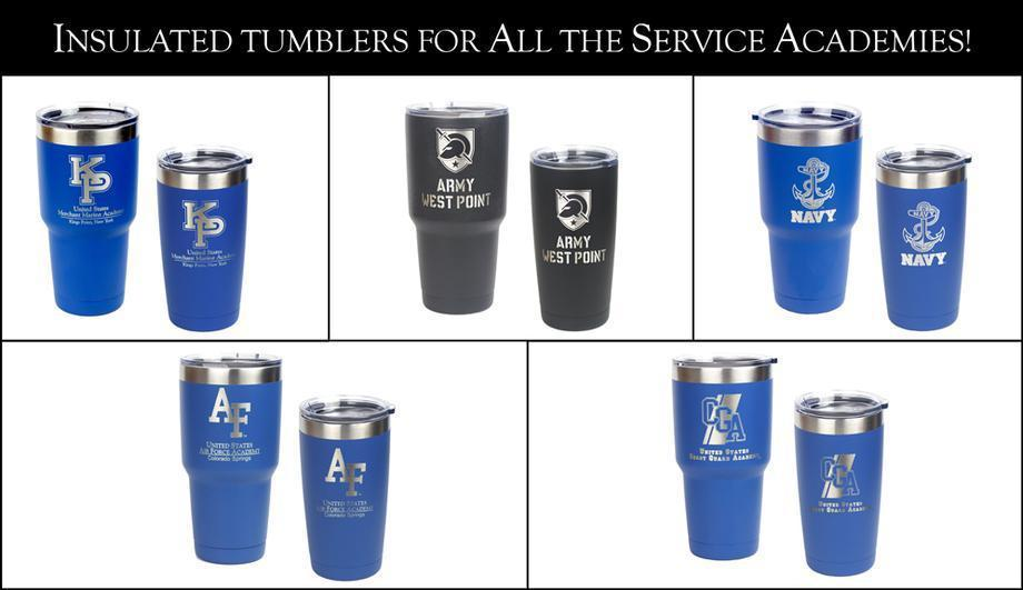 Laser Engraved Insulated Tumblers for all the Service Academies