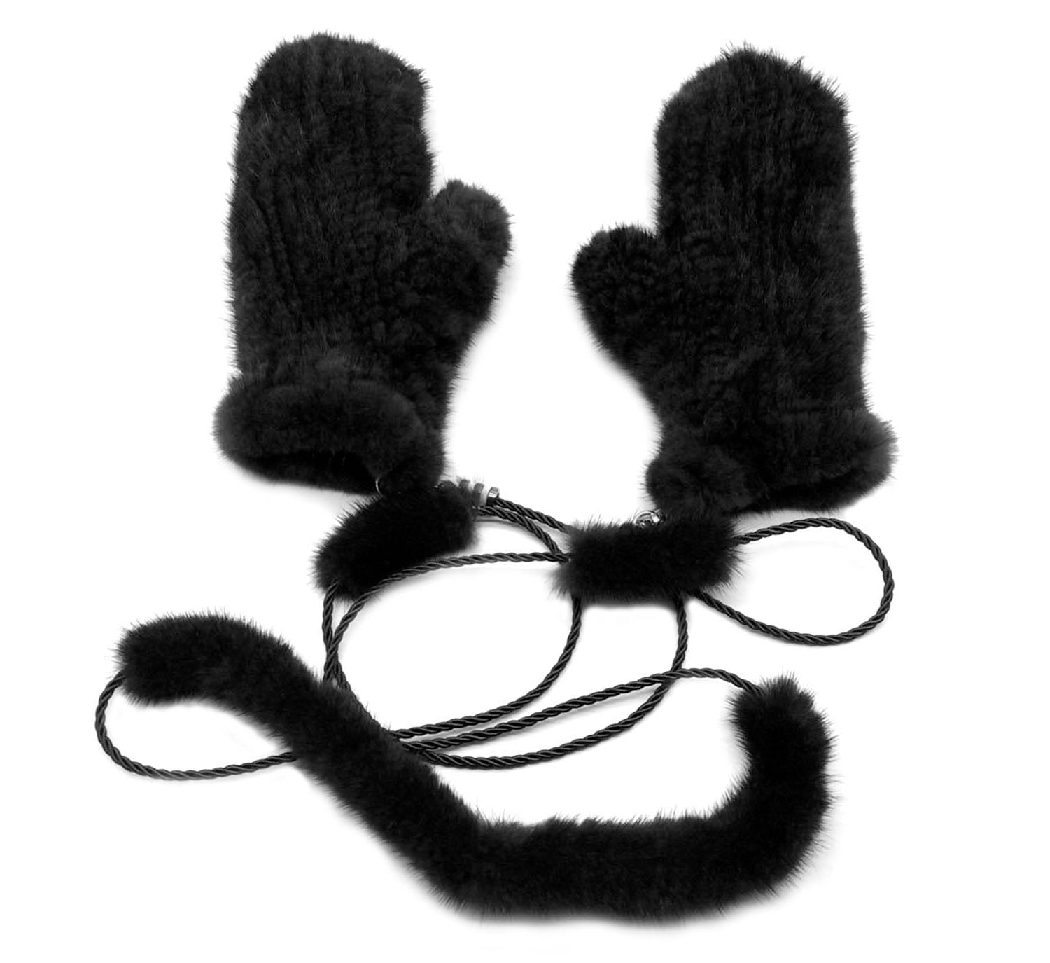Mink Fur Mittens with String