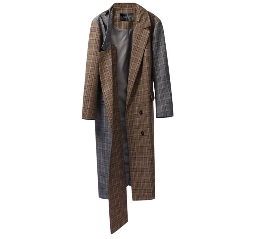 Plaid Panel Coat