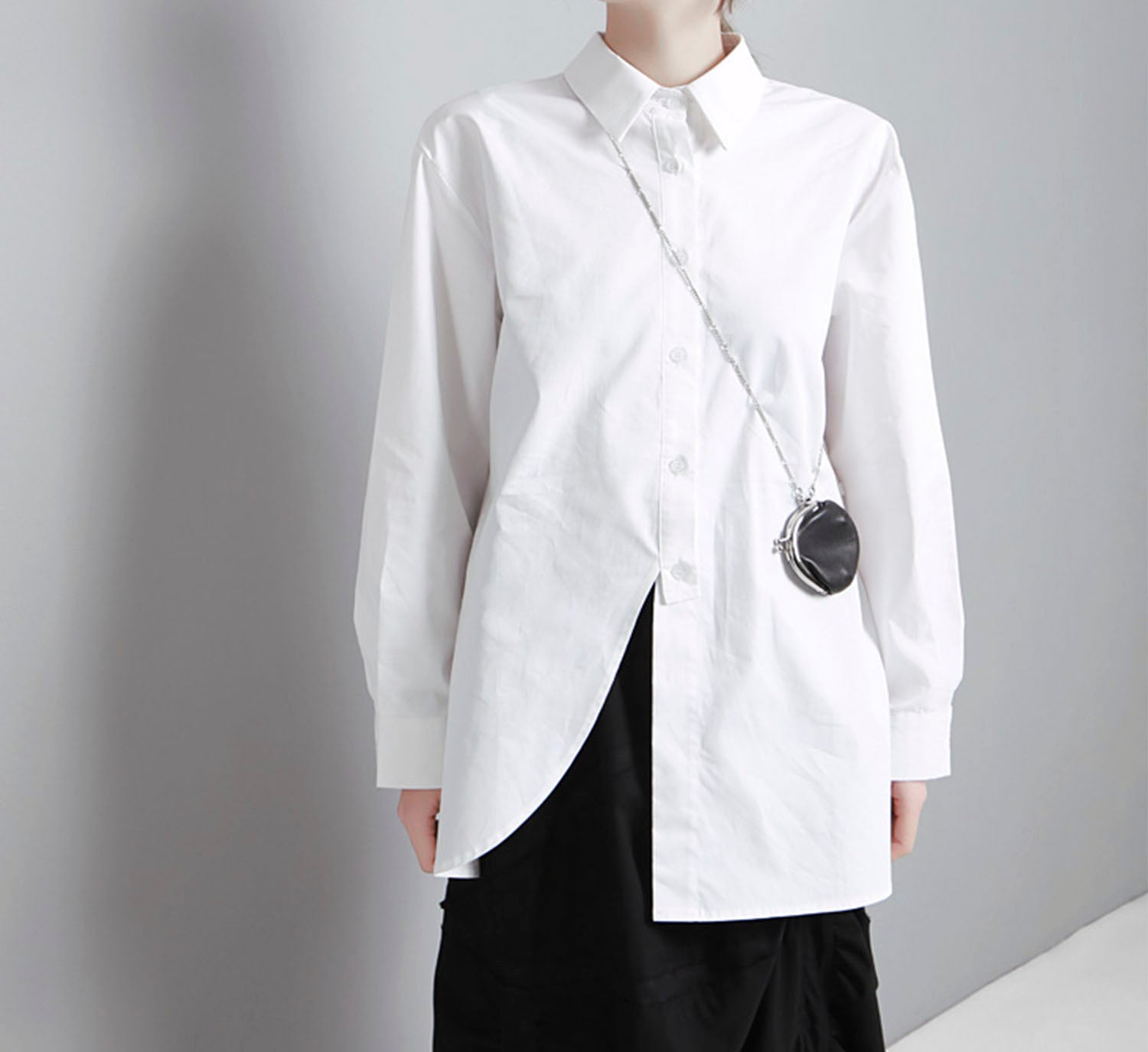 Poplin Slit Button Shirt