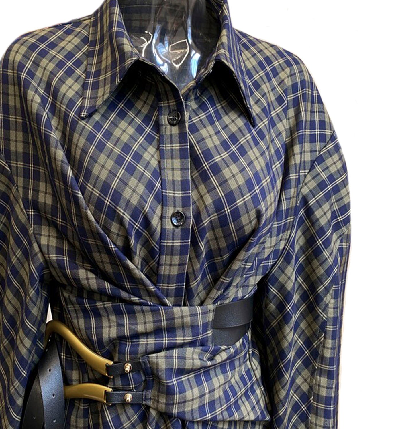 Plaid Gauze Oversized Shirt