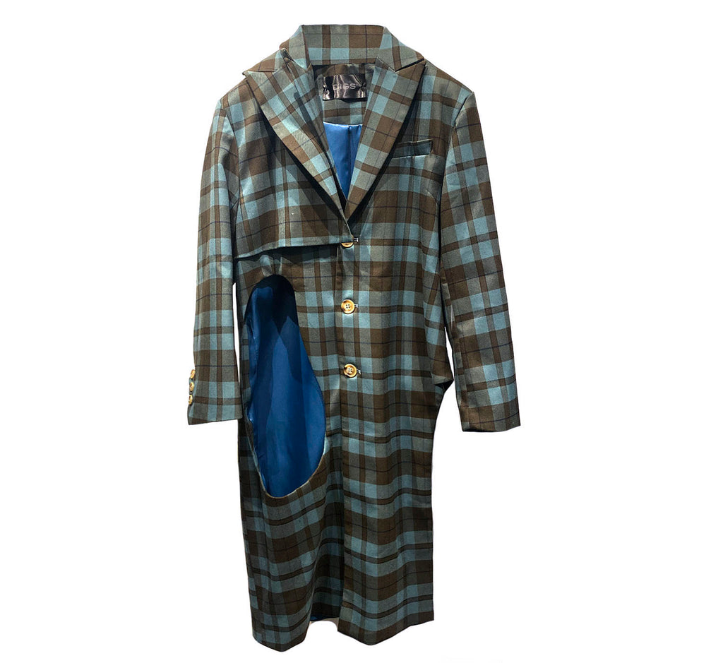 Plaid Cut-Out Coat