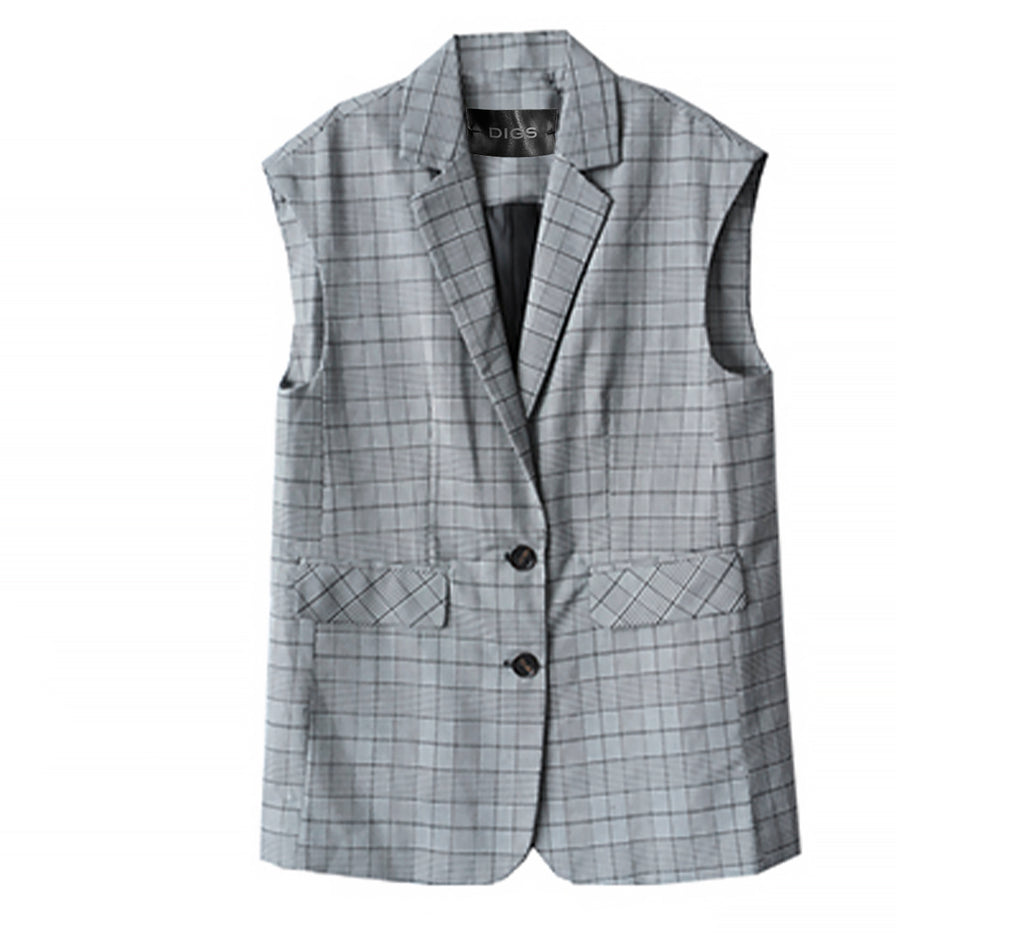 Plaid Vest / Shirt Blazer Set